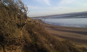 thurstaston beach on the wirral looking over the dee estuary